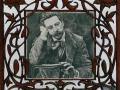 Marc modernista i retrat d'Enric (Fusta tallada i dibuix a llapis)